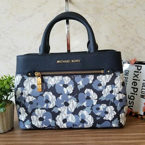 647266d7b5a5dc Michael Kors Bags | Navy Floral Xs Hailee Satchel Bag | Poshmark